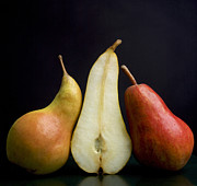 Black Background Art - Pears by Bernard Jaubert