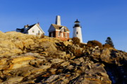 Maine Lighthouses Photo Posters - Pemaquid Point Light Poster by John Greim