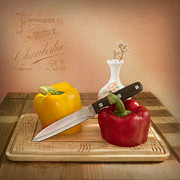 Poster Photo Framed Prints - 2 Peppers and Knife Framed Print by Ian Barber