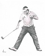 Sports Figure Drawings Framed Prints - Phil Mickelson Framed Print by Murphy Elliott