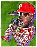 Baseball Art Drawings Framed Prints - Phillies Framed Print by Robert  Myers