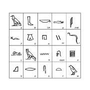 Hieroglyph Metal Prints - Phonetic Egyptian Hieroglyphs Metal Print by Sheila Terry