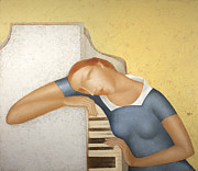 Woman Painting Originals - Piano by Nicolay  Reznichenko