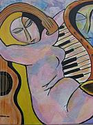 Music Mixed Media Framed Prints - Pianos and Guitars Framed Print by Chaline Ouellet