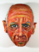 Paper Mache Sculptures - Picasso Mask  by Anna  Arnold