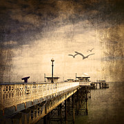 Horizon Mixed Media Metal Prints - Pier Metal Print by Svetlana Sewell