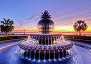 Palm Prints - Pineapple Fountain Charleston SC Sunrise Print by Dustin K Ryan