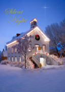 Snowy Night Night Photo Prints - Pioneer Church at Christmas Time Print by Utah Images