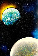 Outer Space Painting Posters - 2 Planets - E Poster by Greg Moores
