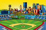 Bridges Digital Art Metal Prints - PNC Park gold sky Metal Print by Ron Magnes