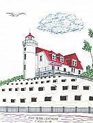 Lakeshore Drawings - Point Betsie Lighthouse by Frederic Kohli