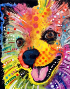 Colorful Art Painting Framed Prints - Pomeranian Framed Print by Dean Russo
