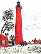 Lighthouse Drawings - Ponce Inlet Lighthouse by Frederic Kohli