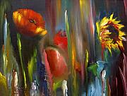 Impressionist Mixed Media - Poppy and sunflower by Jeff Hunter