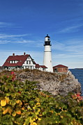 Maine Lighthouses Posters - Portland Head Lighthouse Poster by John Greim