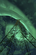 Green Energy Framed Prints - Powerlines And Aurora Borealis Framed Print by Arild Heitmann