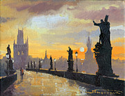 Cityscape Painting Prints - Prague Charles Bridge 01 Print by Yuriy  Shevchuk