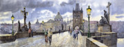 Charles Bridge Painting Prints - Prague Charles Bridge Print by Yuriy  Shevchuk