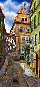 Street Drawings Framed Prints - Prague Old Street Framed Print by Yuriy  Shevchuk
