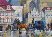 Old Painting Posters - Prague Old Town Square 01 Poster by Yuriy  Shevchuk