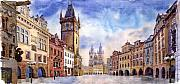 Watercolour Painting Posters - Prague Old Town Square Poster by Yuriy  Shevchuk