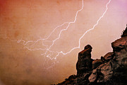 Lightning Bolts Posters - Praying Monk Camelback Mountain Lightning Monsoon Storm Image TX Poster by James Bo Insogna