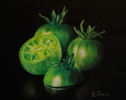 Vegetables Drawings Framed Prints - Pre-Fried Green Framed Print by Elizabeth Scism