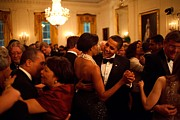 East Room Framed Prints - President And Michelle Obama Dance Framed Print by Everett
