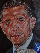 Romney Paintings - President Barack Obama by Alex Krasky