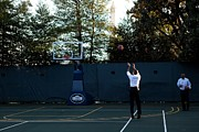 T-shirt Photos - President Barack Obama Shoots Hoops by Everett