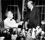 World Leader Photo Prints - President Franklin D. Roosevelt, Meets Print by Everett