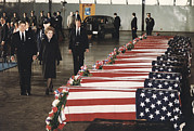 Casket Photos - President Ronald Reagan And First Lady by Everett