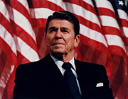 Us Presidents Photo Framed Prints - President Ronald Reagan Framed Print by War Is Hell Store
