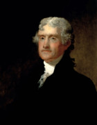 Founding Fathers Paintings - President Thomas Jefferson  by War Is Hell Store