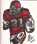 Player Drawings Posters - Priest Holmes Poster by Jeremiah Colley