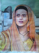 Indian Guru Paintings - Priety Zinta by Sandeep Kumar Sahota