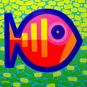 Colorful Canvas Paintings - Psychedelic Fish  by John  Nolan