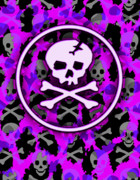 Horror Digital Art - Purple Deathrock Skull by Roseanne Jones