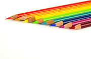 Multicolored Drawing Posters - Rainbow colored pencils Poster by Blink Images