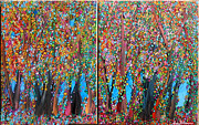 Fantasy Tree Art Paintings - Rainbow Forest by Suzeee Creates
