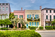 Charleston Framed Prints - Rainbow Row Framed Print by Drew Castelhano