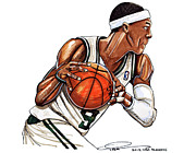 Boston Celtics Drawings Posters - Rajon Rondo Poster by Dave Olsen
