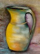 Pottery Pitcher Painting Prints - Raku Print by Annamarie Sidella-Felts