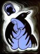 Artists For A Pristine Planet Painting Posters - Raven Holds Me When I Weep Poster by Angela Treat Lyon