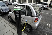 Recharging An Electric Car Print by Martin Bond