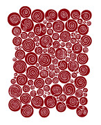 Red Drawings Prints - Red Abstract Print by Frank Tschakert