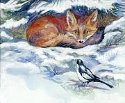 Fox Digital Art - Red Fox with Magpie by Peggy Wilson