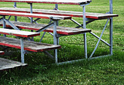 Empty Bench Prints - Red Wooden Bench Print by Blink Images