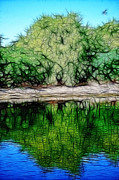 Landscape Mountain Trees Fisherman Art - Reflection by Nilay Tailor