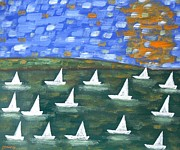 Sport Oil Paintings - Regatta by Patrick J Murphy